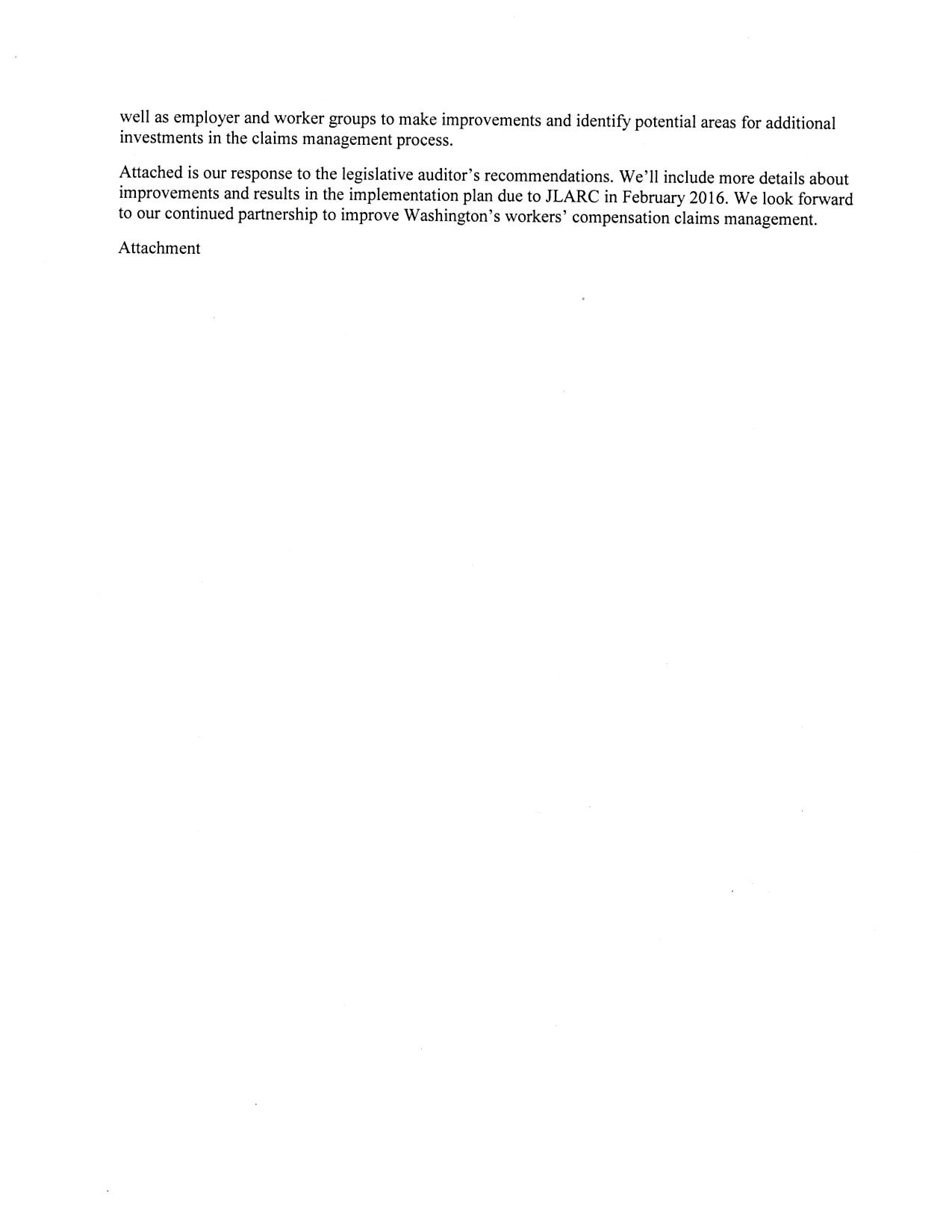 Jlarc report workers compensation claims management second page of li response li concurs with both recommendations signed by li director falaconquin