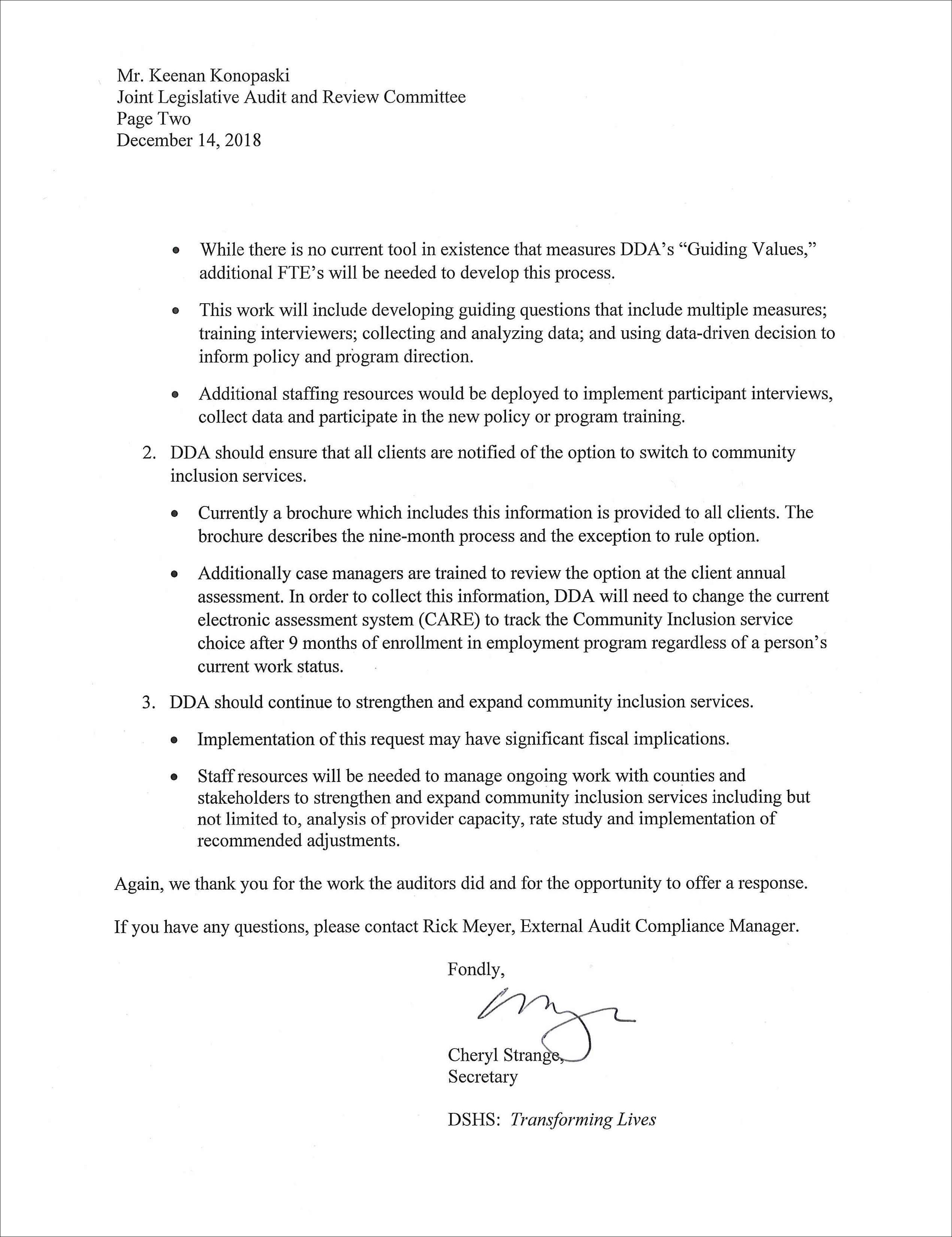 Letter of response from DSHS.