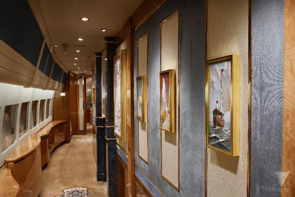 Interior (hallway) of fully modified large private airplane
