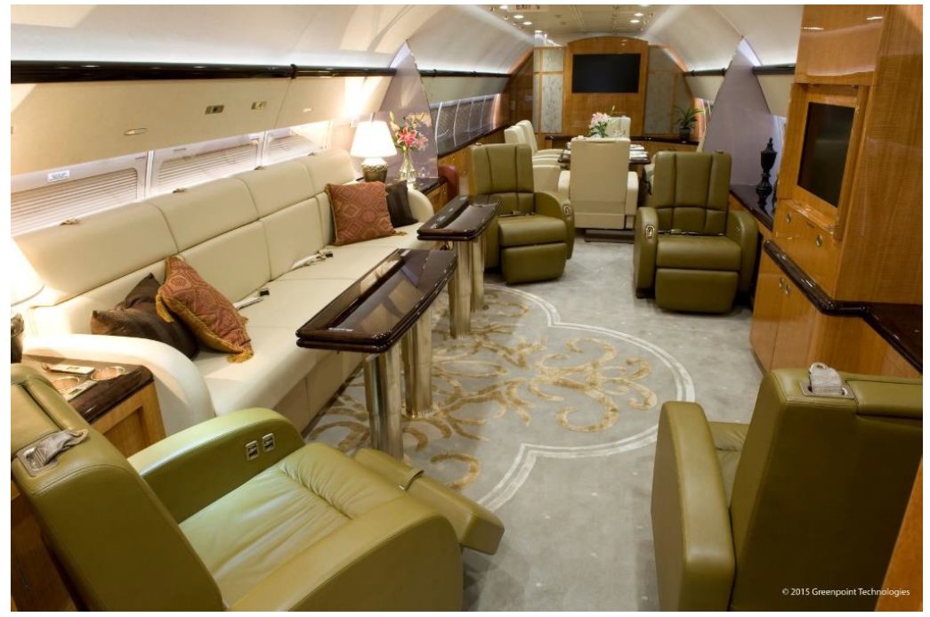 Interior (living room area) of fully modified large private airplane