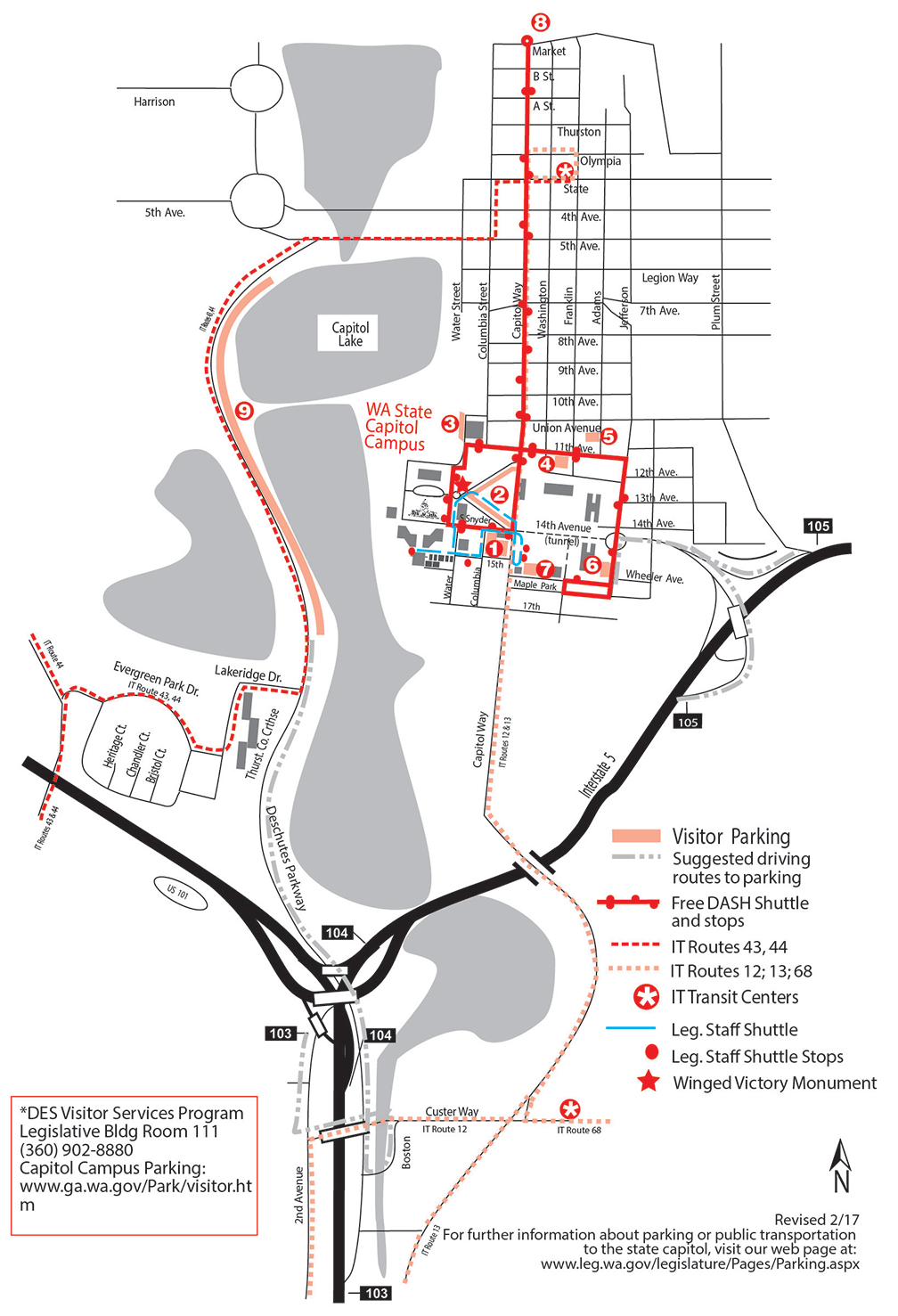 Map of parking locations
